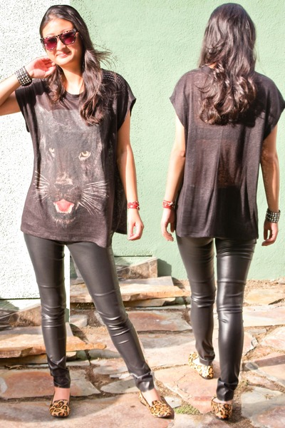 panther tee Zara top - Forever 21 pants - leopard loafers Steve Madden flats