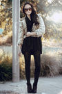 Black-dazzling-top-black-cotton-on-scarf-lulu-and-rose-jacket-purple-londo