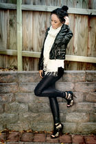 white supre top - black Valley Girl jacket - gray Valley Girl leggings - beige V