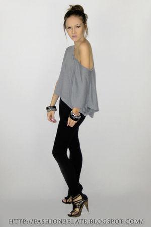 gray supre top - black Valley Girl tights - gray diva accessories - black Varsav