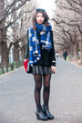 Blue-tartan-zara-scarf-ruby-red-zara-bag-black-leather-forever-21-skirt