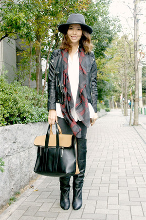 black tote 31 Phillip Lim bag - black H&M boots - charcoal gray Gap hat