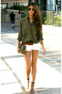 Leopard-print-h-m-bag-white-denim-bershka-shorts-khaki-green-h-m-blouse