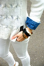 White-h-m-sweater-blue-denim-forever-21-shirt-ruby-red-suede-zara-bag