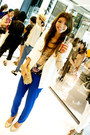 White-forever-21-blazer-gold-sequin-bgbg-bag-cobalt-blue-forever-21-pants