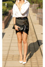 Gray-wrap-skirt-three-floor-skirt-white-sly-shirt-white-pumps-asos-heels