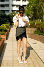 White-sly-shirt-gray-wrap-skirt-three-floor-skirt-white-pumps-asos-heels