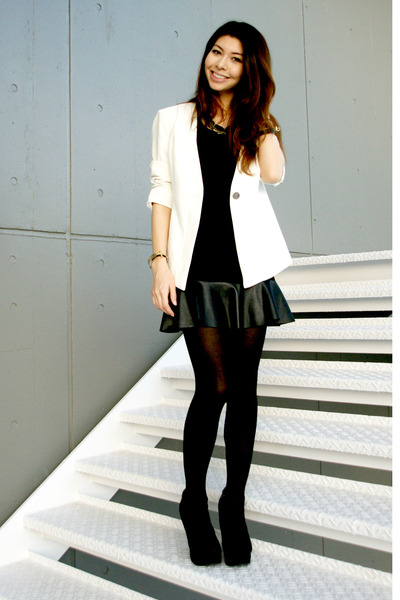 black ankle boots Forever 21 boots - white Forever 21 blazer