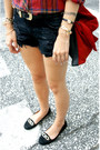 Red-suede-zara-bag-ruby-red-forever-21-shirt-navy-zara-shorts