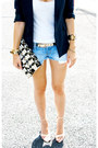 Navy-zara-blazer-black-clutch-zara-bag-sky-blue-hollister-shorts