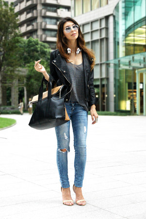 black faux leather Zara jacket - black 31 Phillip Lim bag