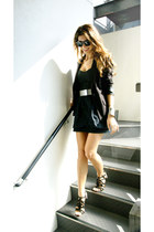 black black Forever 21 blazer - black corset H&M top