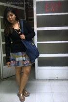 printed Dress Etc skirt - black Dress Etc sweater - denim Wrangler bag