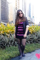 black ensembles blazer - hot pink Forever 21 dress - brown relic watch