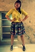 blouse - bracelet - printed skirt skirt - pearl earrings earrings