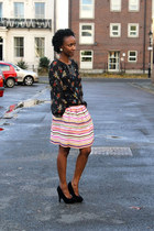 H&M skirt - black wedges TK Maxx wedges - floral blouse F&F blouse - necklace