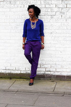 navy F&F jumper - fashionboutique necklace - deep purple new look pants