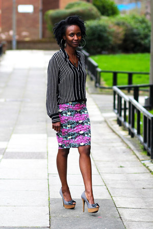 striped top M&S blouse - Internacionale skirt - Fashioncadetboutique heels