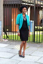 green blazer blazer - black black top blouse - black mini lace skirt skirt