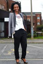 charcoal gray next blazer - black harem pants warehouse pants