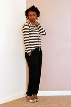 stripe top top - harem pants pants - heels - long ring chain accessories