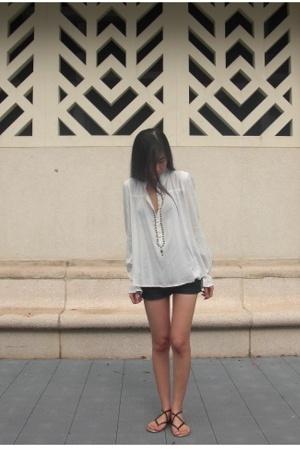 white Spiral girl blouse - blue Topshop shorts