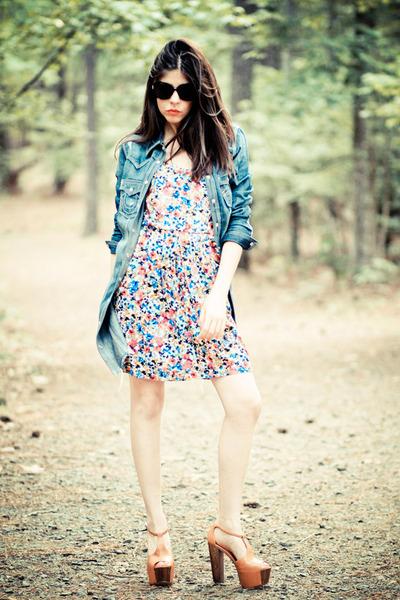 French Connection dress - True Religion jacket - platforms Jessica Simpson heels