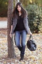 faux fur H&M vest - Topshop boots - J Brand jeans - christian dior sweater