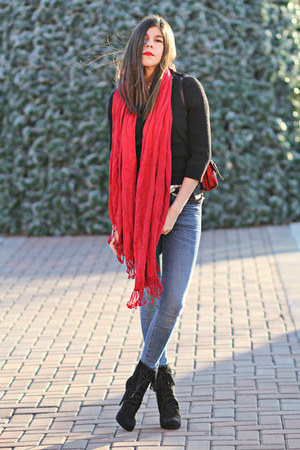 Forever 21 scarf - Bakers boots - James Jeans jeans - J Crew sweater