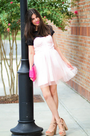 Nanda sandals - tulle modcloth dress - clutch romwe bag