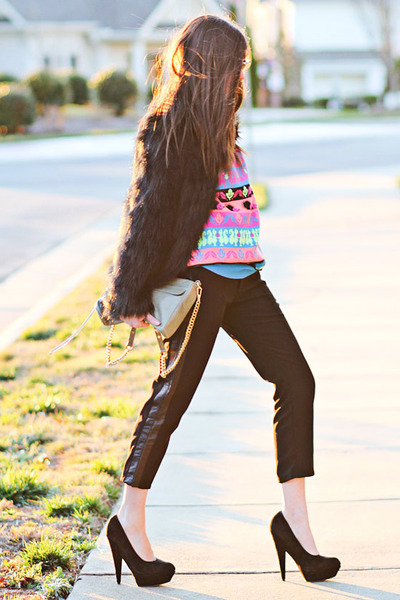 asos heels - faux fur asos coat - neon print asos sweater - Rebecca Minkoff bag