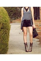 black Seventh Door shorts - black grommet bucket Forever 21 bag