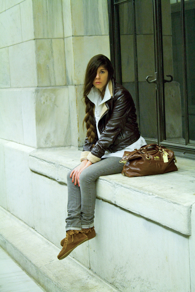 brown ModClothcom jacket - silver INC jeans - brown Minnetonka boots - white Exp