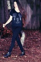 black Forever 21 t-shirt - black Topshop jeans - black asos boots