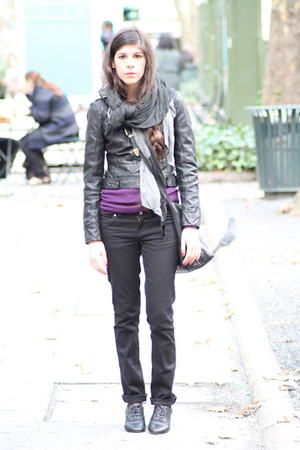 black Bebe jacket - purple INC sweater - black Forever 21 pants - black go jane
