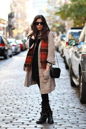 black Lacoste dress - black Fiorentini  Baker boots - Ralph Lauren accessories -
