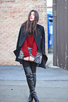 romwe coat - over the knee Topshop boots - skinny jeans James Jeans jeans