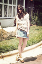 Karen Walker sunglasses - crochet The Addison Story blouse - Bongo skirt - espad