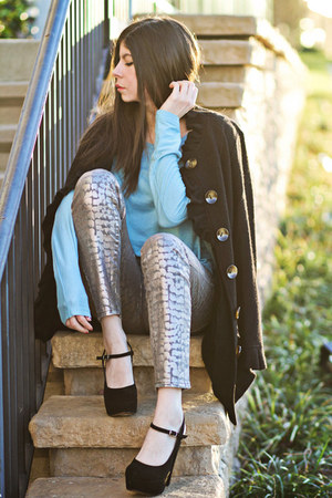 StyleMint t-shirt - wool vintage coat - snakeskin print Armani Exchange jeans