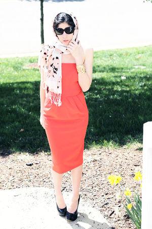 red Isabella Oliver 365 dress - Aldo shoes - gold Loft bracelet - pink Loft scar