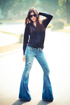 True Religion jeans - vintage christian dior sweater - Ray Ban sunglasses
