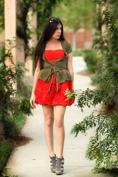 red H&M dress - green H&M cardigan - gray Forever 21 shoes - black vintage bag -