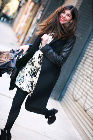 Zara coat - Topshop boots - Alice and Olivia dress - balenciaga bag