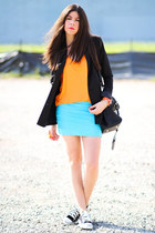 Converse sneakers - storets blazer - Club Couture skirt - tank romwe top