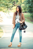 James Jeans jeans - leather Burning Torch jacket - espadrille Wanted wedges - Br