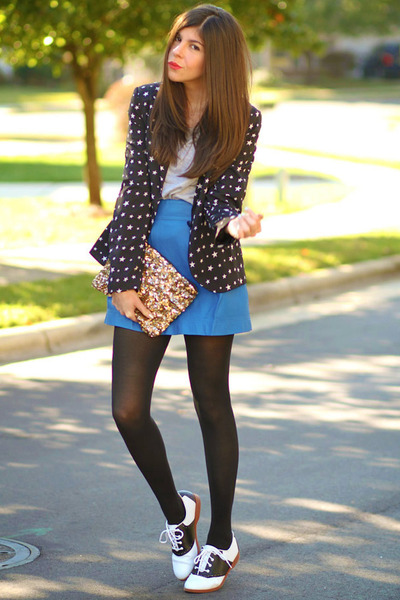 Zara blazer - Topshop tights - sequin clutch Zara bag - leather romwe skirt