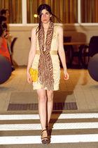 gold Ports 1961 dress - brown franco sarto shoes - gold Mar Y Sol bag - brown sc