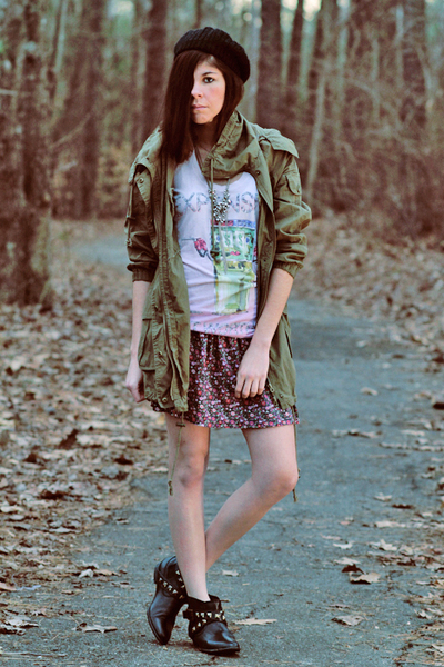 black asos boots - green Forever 21 jacket - pink Forever 21 skirt - pink trash