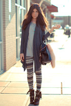 Forever 21 cardigan - Dolce Vita boots - Nasty Gal leggings