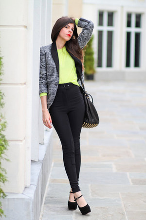 neon American Apparel sweater - Zara blazer - Alexander Wang bag
